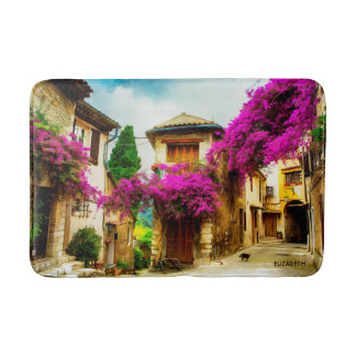 Tapete De Banheiro Rua ensolarada velha bonita com árvores roxas