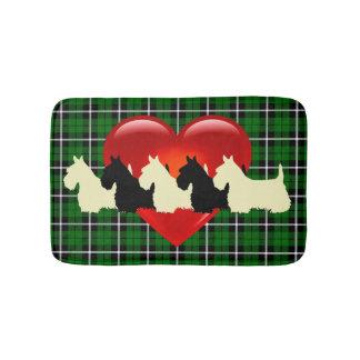 Tapete De Banheiro Scottish Terrier/coração vermelho/xadrez verde da
