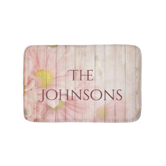 Tapete De Banheiro Seu floral cor-de-rosa romântico personalizado