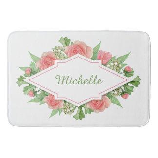 Tapete De Banheiro Seu nome em esteiras de banho do quadro da flor