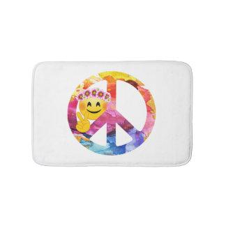 Tapete De Banheiro Sinal de paz, arte da aguarela do Emoticon do