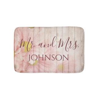 Tapete De Banheiro Sr. e Sra. Bonito Cor-de-rosa Floral
