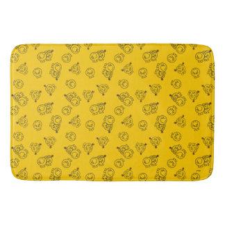 Tapete De Banheiro Sr. Feliz & teste padrão amarelo pequeno da