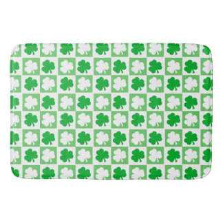 Tapete De Banheiro Tabuleiro de damas irlandês verde e branco dos