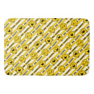 Tapete De Banheiro Teste padrão amarelo das listras do Sr. Feliz |