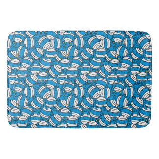 Tapete De Banheiro Teste padrão azul da confusão do Sr. Colisão |