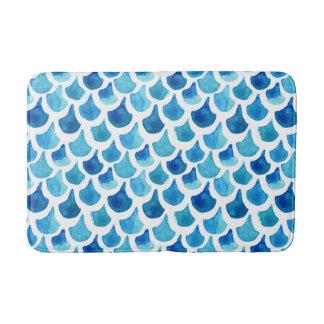 Tapete De Banheiro Teste padrão azul da escala da aguarela