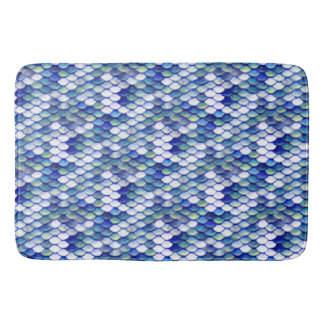 Tapete De Banheiro Teste padrão azul da pele da sereia