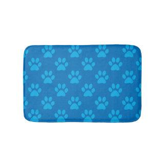 Tapete De Banheiro Teste padrão azul das patas do filhote de cachorro