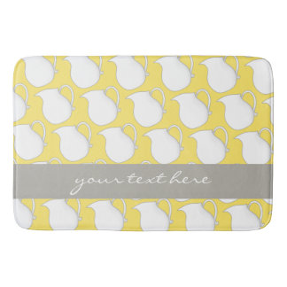 Tapete De Banheiro Teste padrão branco amarelo bonito do vaso