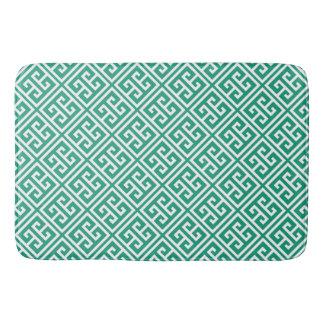 Tapete De Banheiro Teste padrão chave grego de verde esmeralda