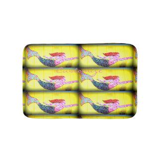Tapete De Banheiro teste padrão cor-de-rosa nadador das sereias do