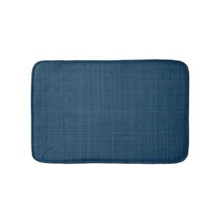 Tapete De Banheiro Teste padrão de linho azul do mar escuro luxuoso