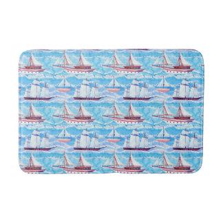 Tapete De Banheiro Teste padrão dos navios de navigação da aguarela