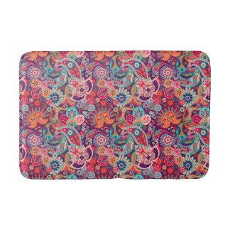 Tapete De Banheiro Teste padrão floral de néon cor-de-rosa de Paisley