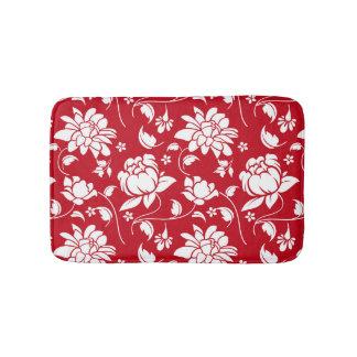 Tapete De Banheiro Teste padrão floral vermelho e branco dos damascos