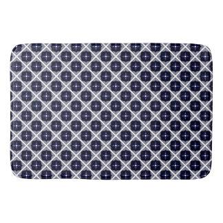 Tapete De Banheiro Teste padrão geométrico azul e branco