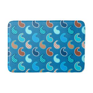 Tapete De Banheiro Teste padrão moderno de Paisley, azul Cerulean,