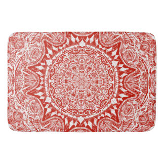 Tapete De Banheiro Teste padrão vermelho da mandala
