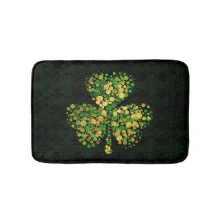 Tapete De Banheiro Trevo irlandês decorativo - ouro e verde do trevo
