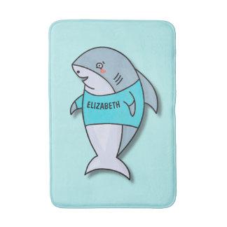 Tapete De Banheiro Tubarão de sorriso bonito no design engraçado da