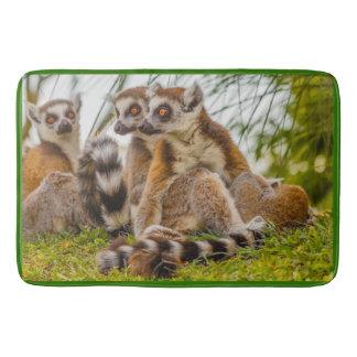 Tapete De Banheiro um lemur do homem abraça sua fêmea na esteira de