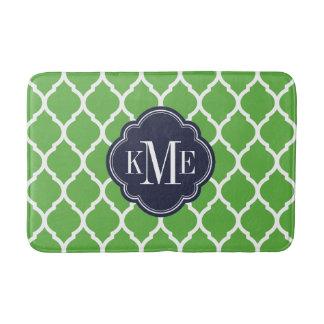 Tapete De Banheiro Verde e monograma de Quatrefoil do marroquino do
