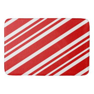 Tapete De Banheiro Vermelho e branco listra a esteira de banho