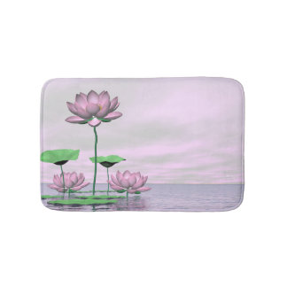 Tapete De Banheiro Waterlilies e flores de lótus cor-de-rosa - 3D