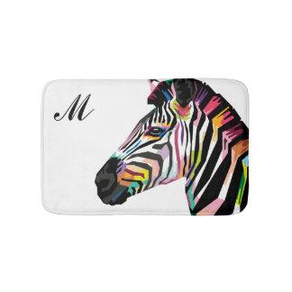 Tapete De Banheiro Zebra colorida do pop art Monogrammed