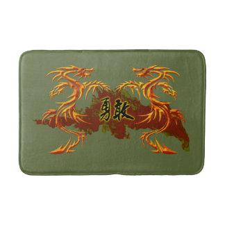 tapete de banho, 2 dragões, fogo, símbolo chinês