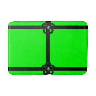 tapete de banho verde preto do banheiro