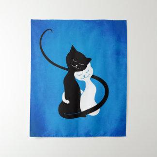 Tapete De Parede Azul que abraça gatos do amor