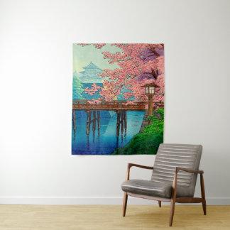 Tapete De Parede Castelo e flor de cerejeira do vintage de Ito