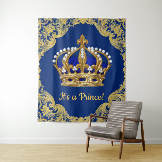 Tapete De Parede Contexto do chá de fraldas do príncipe Coroa do
