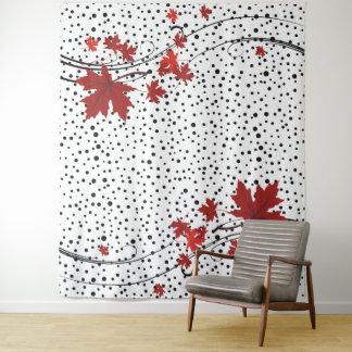 Tapete De Parede Folhas de bordo vermelhas e bolinhas pretas