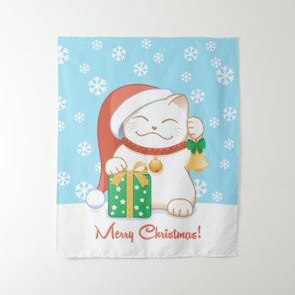Tapete De Parede Gato do White Christmas em Red Hat