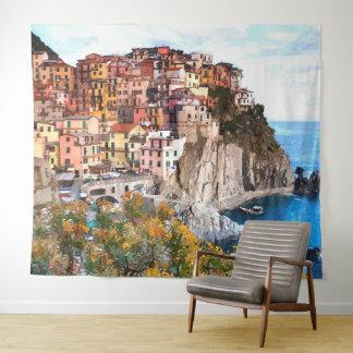 Tapete De Parede Pintura da arte da aguarela da costa de Amalfi do