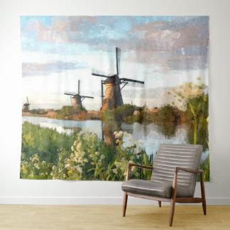 Tapete De Parede Pintura holandesa da arte da aguarela dos moinhos