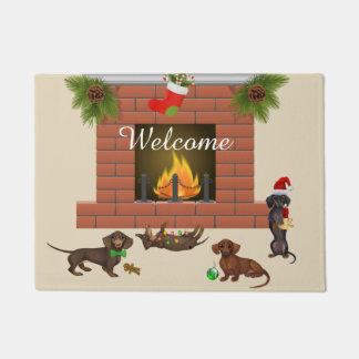 Tapete Decoração Doxie do Dachshund do Natal da esteira