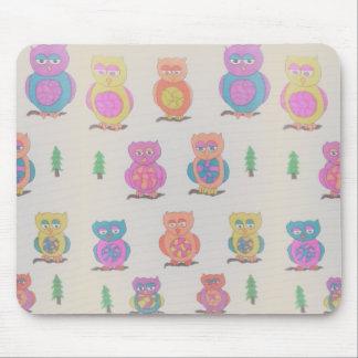 Tapete do rato colorido da coruja mouse pad