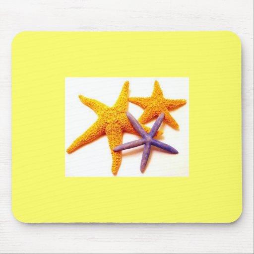 Tapete do rato do amarelo da estrela do mar do ver mouse pad