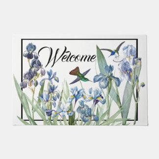 Tapete Doormat da boa vinda da flor da íris dos pássaros