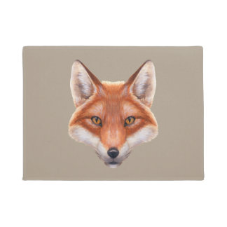 Tapete Doormat da cara do Fox vermelho