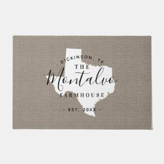 Tapete Doormat do estado do monograma da família de Texas