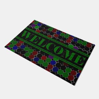 Tapete Doormat do verde da boa vinda dos círculos