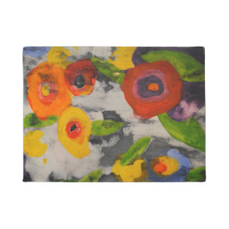 Tapete Doormat moderno colorido corajoso das flores de