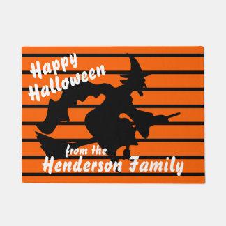 Tapete Doormat personalizado do Dia das Bruxas com bruxa
