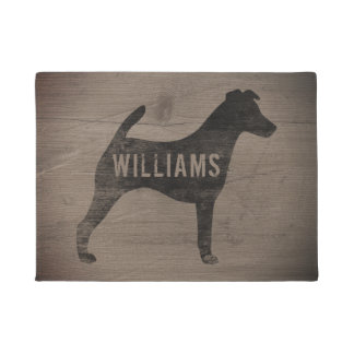 Tapete Doormat personalizado do Fox Terrier silhueta lisa