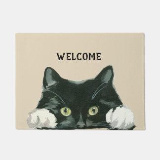 Tapete doormat preto e branco da boa vinda do gato